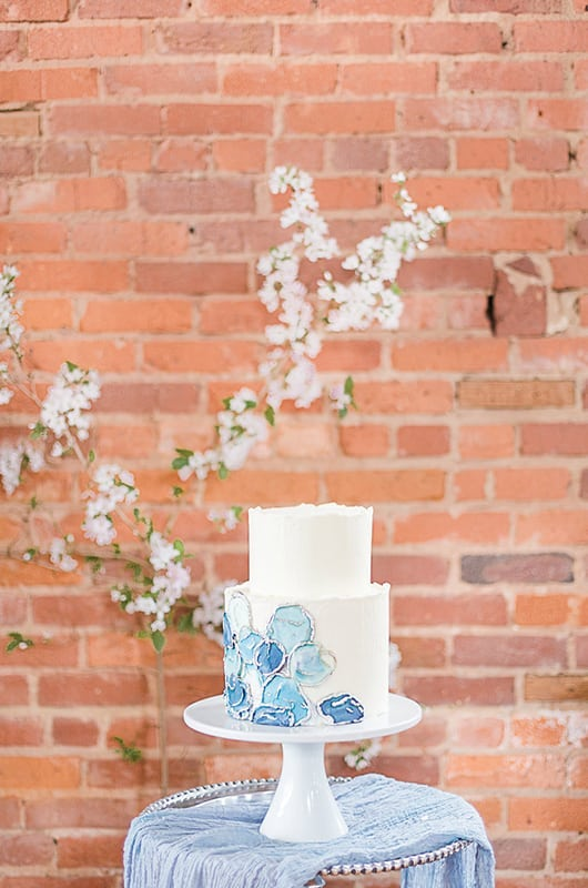 Vintage Industrial Dusty Blue Wedding Inspiration, The Corner District, North Georgia Wedding Venue, Vintage Industrial Wedding Venue, Atlanta Weddings, Styled Workshop