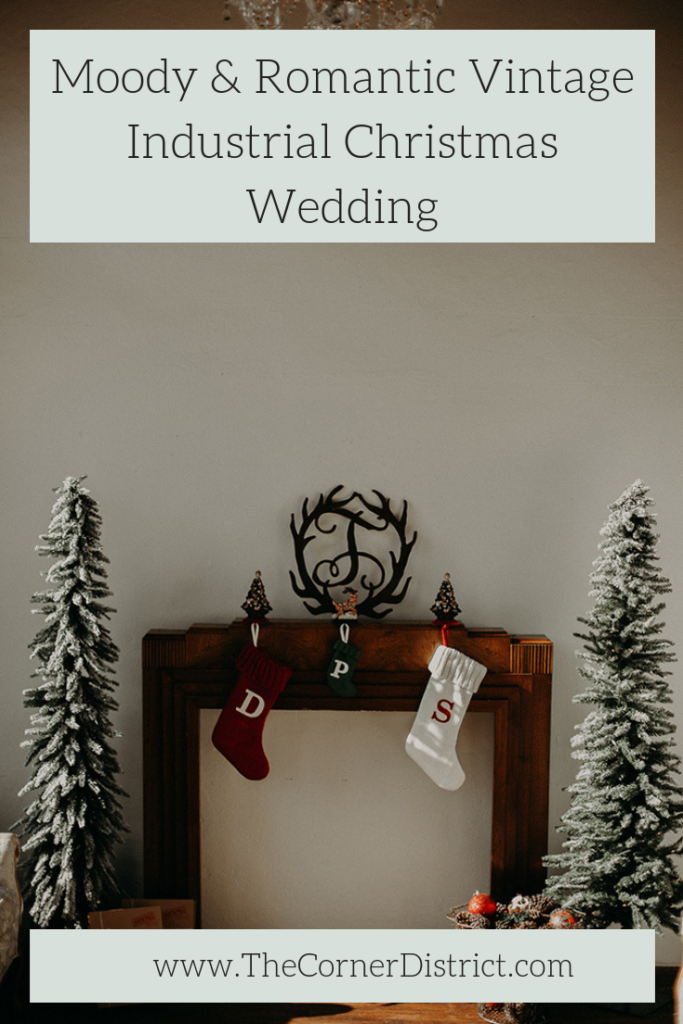 We're sharing our favorite details of this Moody & Romantic Vintage Industrial Christmas Wedding that was featured on Glamour and Grace! #thecornerdistrict #northgeorgiaweddingvenue #moodywinterwedding #christmaswedding